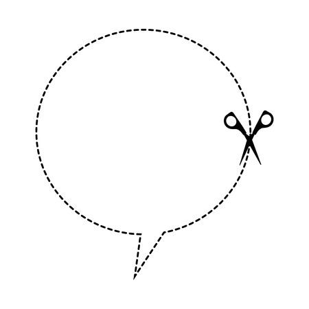 cut scissor speech bubble lines figure vector illustration design Illustration