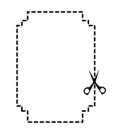 slit: cut scissor frame lines figure vector illustration design Illustration