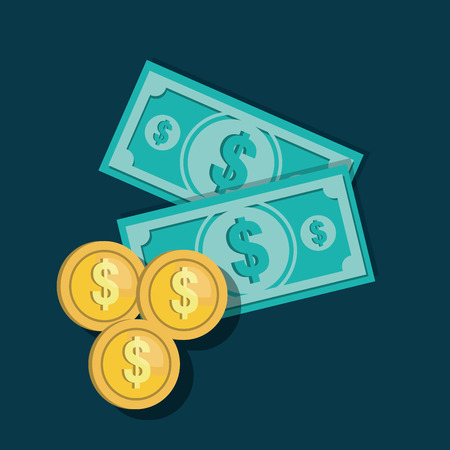 icons bills currency coins design vector illustration
