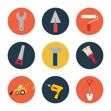 set tool construction icon design vector illustration