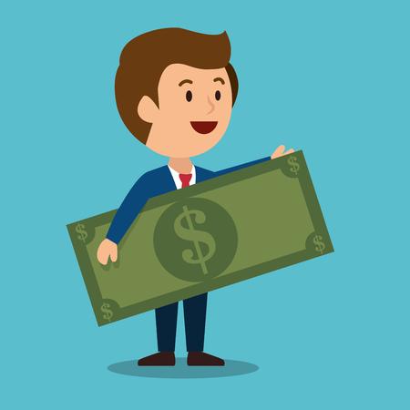 ganancias: cartoon man money earnings design isolated vector illustration Vectores