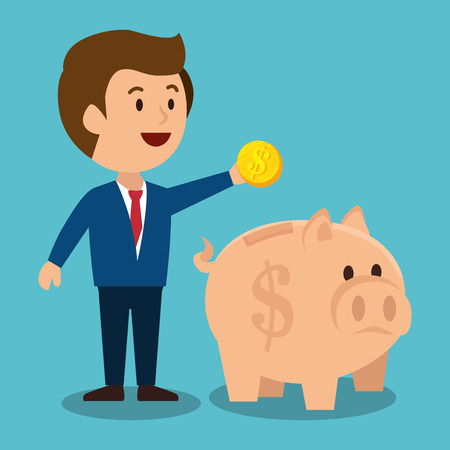 earnings: cartoon man money earnings design isolated vector illustration eps 10