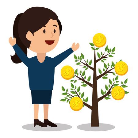woman cartoon money earnings design isolated vector illustration