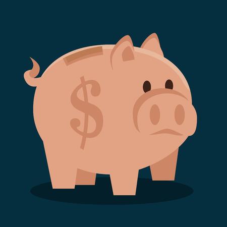 cartoon piggy money earnings design isolated vector illustration
