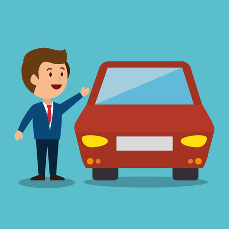earnings: cartoon man car earnings design isolated vector illustration Illustration
