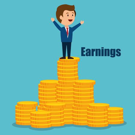 ganancias: de dibujos animados del hombre del dise�o de ganancias de dinero ilustraci�n vectorial aislado