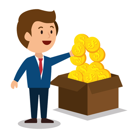 earnings: cartoon man money earnings design isolated vector illustration Illustration