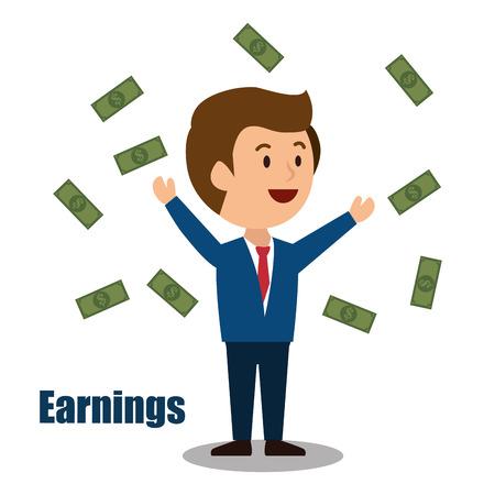 ganancias: cartoon man money earnings design isolated vector illustration eps 10
