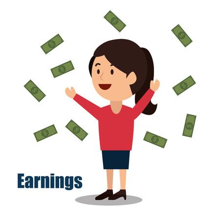 ganancias: woman cartoon money earnings design isolated vector illustration eps 10