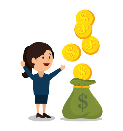 earnings: woman cartoon money earnings design isolated vector illustration