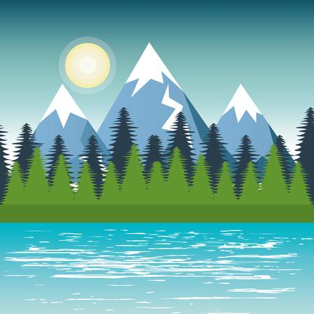 landscape mountain pine tree design vector illustration Illustration