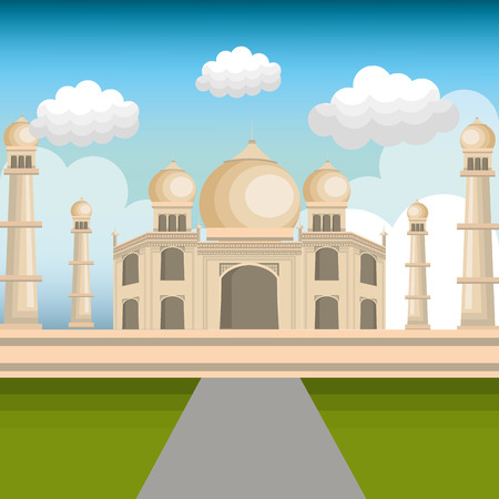 monument in india: monument india taj mahal design vector illustration Illustration