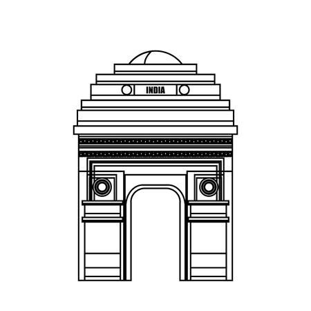 monument in india: monument gate delhi india country design vector illustration