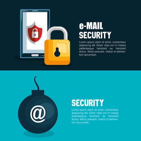 digital security: technology data digital security design vector illustration Illustration