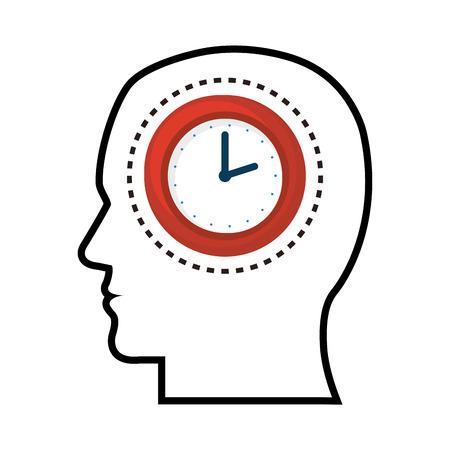 man head: silhouette head man clock design vector illustration