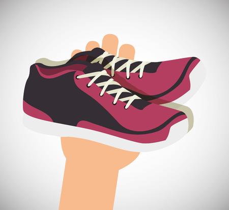 cartoon sneakers fitness sport elements design vector illustration Illustration