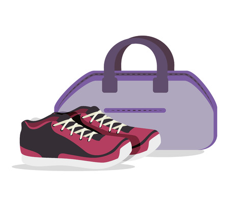 cartoon sneakers fitness sport elementen ontwerp vectorillustratie Stock Illustratie