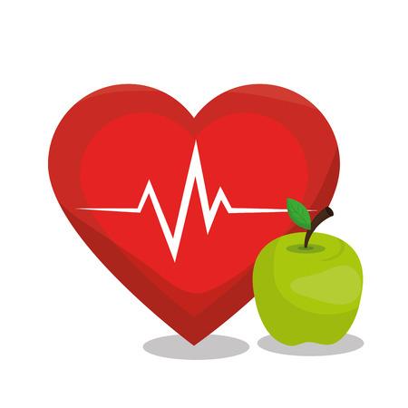 la nutrición de dibujos animados ilustración vectorial de diseño deportivo de la manzana de alimentos