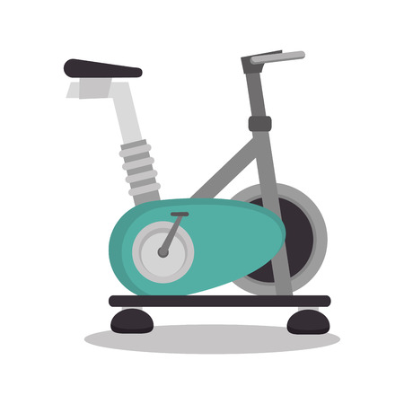stationary bicycle: cartoon stationary bicycle sport elements design vector illustration