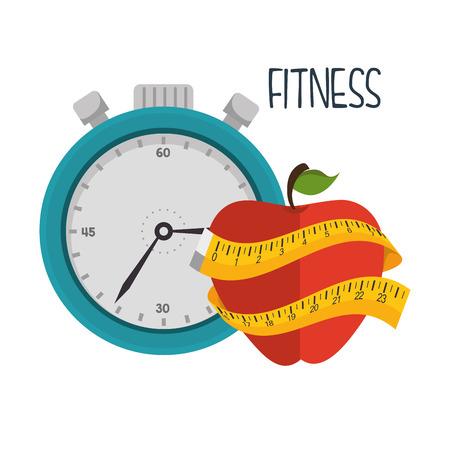 cartoon fitness sport elements design vector illustration