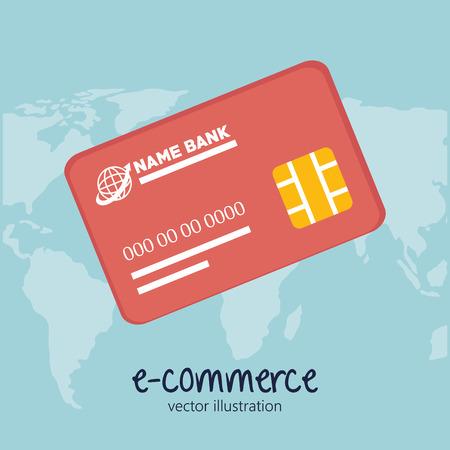 e commerce icon: icon credit card e- commerce design vector illustration
