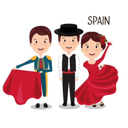bullfighter: group spain music dance design vector illustration