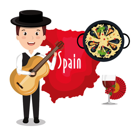 spanish food: man spain music design vector illustration