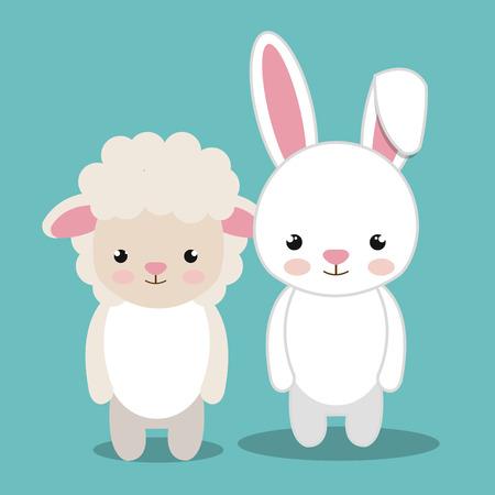 cartoon animal sheep rabbit plush stuffed design vector illustration
