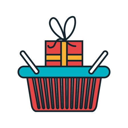 gift basket: basket shopping with gift icon vector illustration design