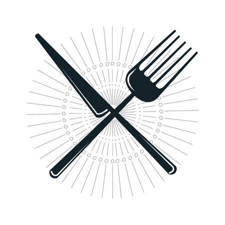 silverware: knife and fork crossed. dinner silverware utensil. vector illustration