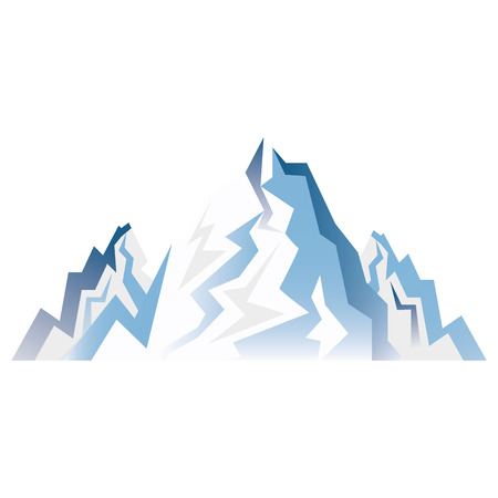 extreme terrain: blue snow alps mountains and hills. winter landscape. vector illustration