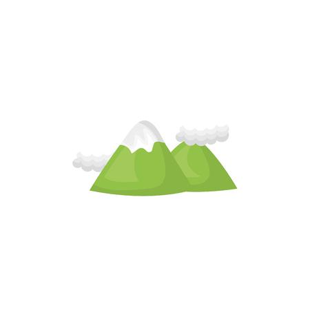 peak: green mountain and hills peak. natural landscape. vector illustration