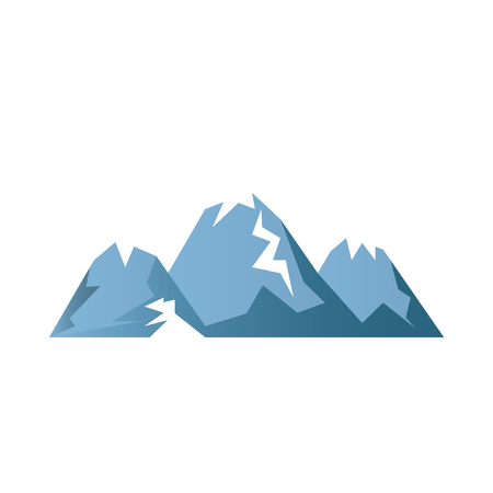 high up: blue snow alps mountains and hills. winter landscape. vector illustration