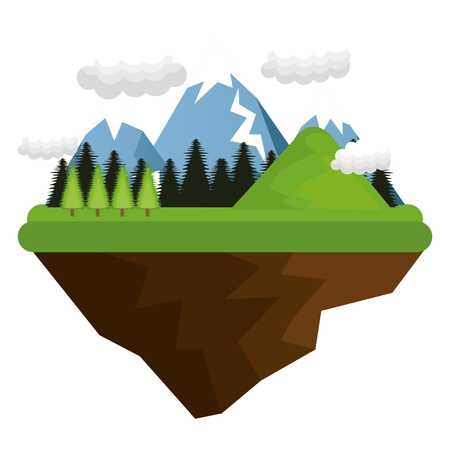 wilderness area: natural forest landscape with mountains and hills trees and clouds. vector illustration