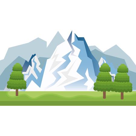 ski slope: blue snow alps mountains and hills. winter landscape. vector illustration