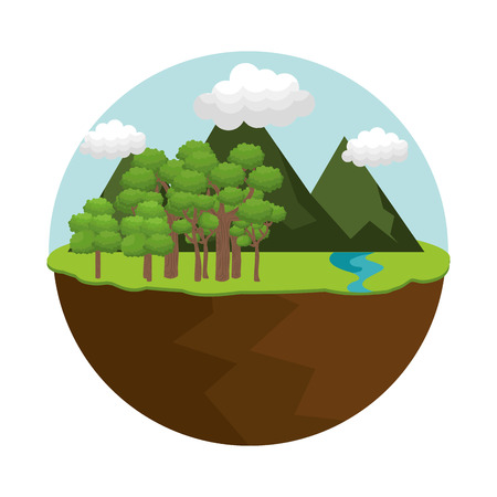natural forest landscape with mountains and hills trees and clouds. vector illustration