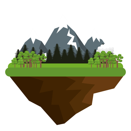 wilderness area: natural landscape with mountains and hills trees and clouds. vector illustration Illustration