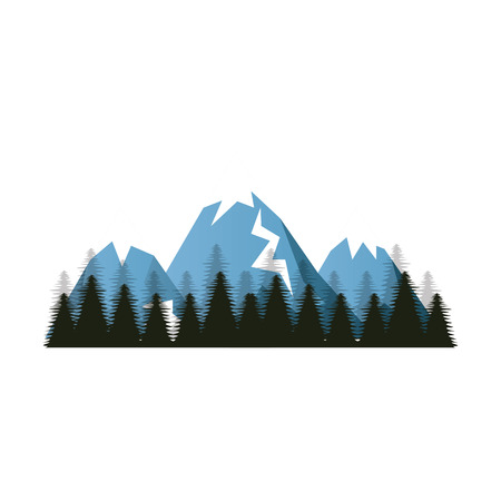high up: blue snow alps mountains and hills. winter forest landscape. vector illustration