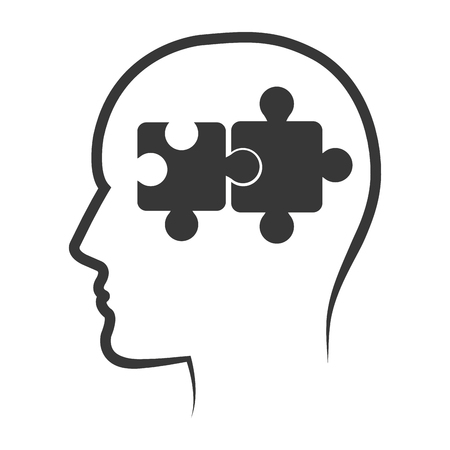 head profile: human head profile with puzzle connected pieces. silhouette vector illustration