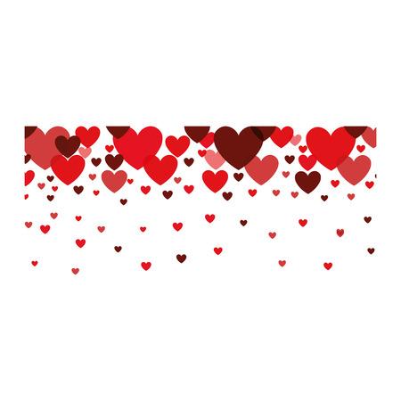 romance: red hearts decoration. love passion romance concept. vector illustration