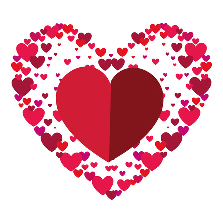 romance: red heart shape. love passion romance decoration. vector illustration