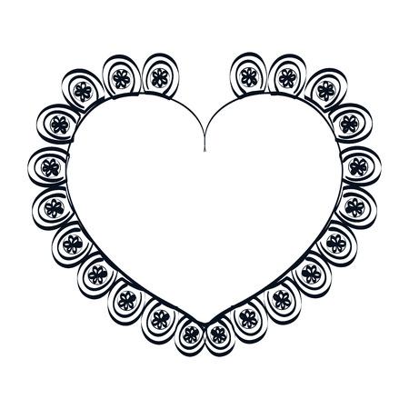 romance: heart shape. love passion ornament romance decoration. silhouette vector illustration Illustration