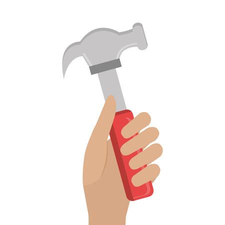 reconstruction: hand holding a hammer construction tool. repair equipment. vector illustration Illustration