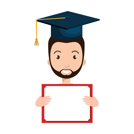 avatar man smiling with graduation blue cap and certificate. vector illustration Illustration