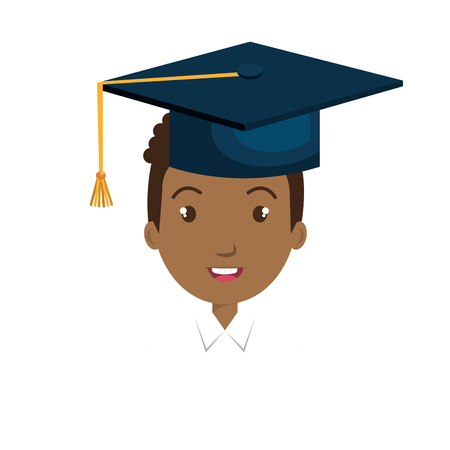 bachelor's: avatar man smiling with graduation blue cap cartoon. vector illustration