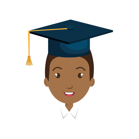 avatar man smiling with graduation blue cap cartoon. vector illustration
