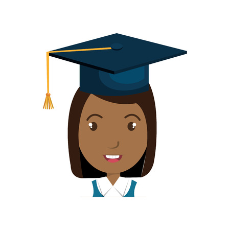 promotion girl: avatar girl smiling with graduation blue cap cartoon. vector illustration