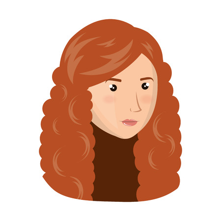 red hair: avatar woman face with red hair cartoon. vector illustration