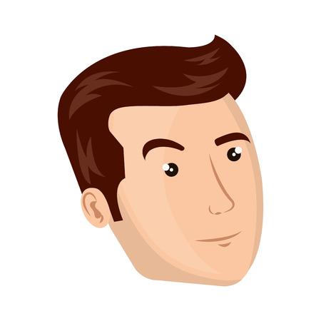brown hair: avatar man face with brown hair cartoon. vector illustration Illustration