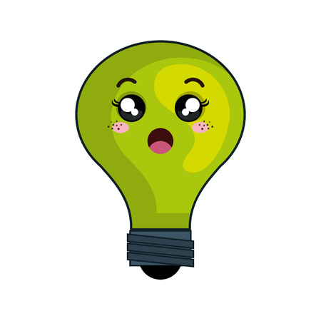 surprise face: green cartoon cute light bulb with surprise face. vector illustration Illustration